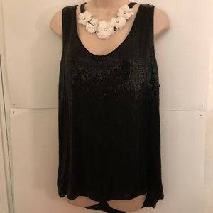 Cache black shimmery top XL New